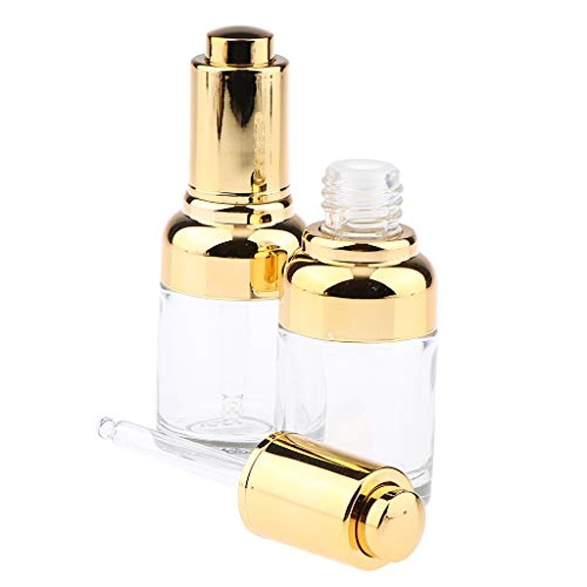 発掘起きて風味F Fityle 2個 ガラス瓶 ドロッパーボトル エッセンシャルオイルディスペンサー 香水ピペット バイアル 30ml