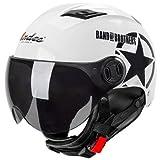 GOHAN(ゴハン) バイクヘルメット ハーフヘルメット インナーシールド付き 多色選択可能 フリーサイズ 人気バイクヘルメット メンズ レディース (四季タイプ ホワイト)