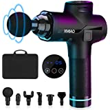 XMIAO Massage Gun-Deep Tissue Muscle Massage Gun-Powerful 20 Speeds Vibration Percussion Muscle Massager-Electric Cordless Quiet Touch Screen Percussive Therapy Device-6 Massage Heads Professional Massager for Pain Relief-Full Body Recovery(Black)