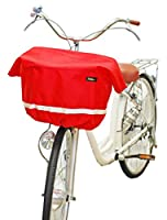 Sorayu ワイドサイズ:リボン付きフロント用バスケットカバー(自転車用前カゴカバー) レッド