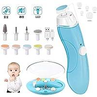 爪やすり 電動 赤ちゃん ネイルケア 電動ネイルケア 電動爪切り USB充電 超静音 LEDライト搭載 携帯ケー ス 10種類付き 赤ちゃん ベビー 男女兼用 ブルー