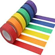 AUTENS Colored Masking Tape, 6 Pack 1 Inch x 13 Yards (2.4cm X 12m) Colorful Paper DIY Decorative Stickers Tap