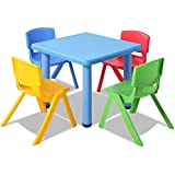 Kids Table and 4 Chairs Set Children Plastic Furniture Play Outdoor Blue 5PC