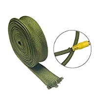 Yudesunyds ワイヤ管理 ケーブルスリーブ - アーミーグリーン チンロンナイロン 編組 パイプ 保護 ハーネススリーブ 10m / 32.8ft