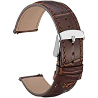 WOCCI 20mm Alligator Embossed Leather Watch Band - Quick Release Watch Strap (Brown with Tone on Tone Seam)