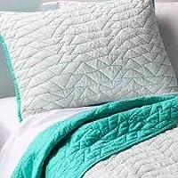 pillowforttm三角形ステッチキルトとシャムセット–Vapor Green Full/Queen