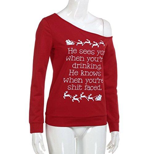 LOOKATOOL Womens Christmas Long Sleeve Letter Deer Sweatshirt Printed Pullover Tops Blouse Red