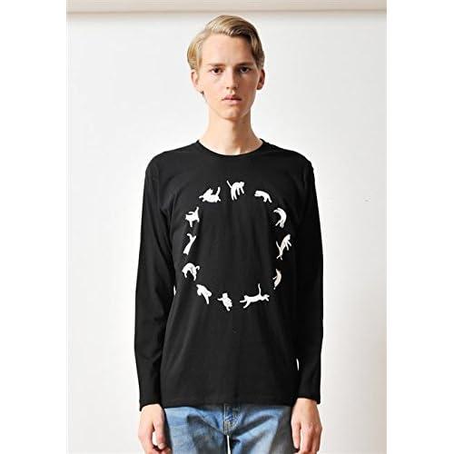 ( グラニフ ) graniph ベーシックロングスリーブTシャツ / ジャンピングキャット ( ブラック ) L
