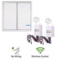 Nineleaf スマートライ2路スイッチ AC 80〜150V 省エネ WiFiで電気を制御のスイッチ 防水仕様 配線なし トランスミッタスイッチ*2+レシーバコントローラ*2