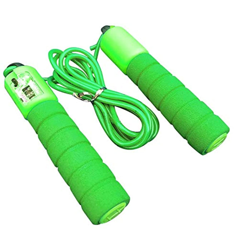 マイナー浸した抑制する調節可能なプロフェッショナルカウント縄跳び自動カウントジャンプロープフィットネス運動高速カウントジャンプロープ - グリーン