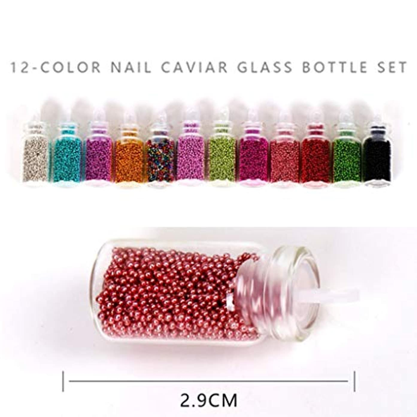 こねる謎めいた明るいWadachikis ホット販売DIYネイルスチールキャビアカラー1 mmスモールスチールボール12色混合カラーネイルアート装飾スーツ(None 12 Color Caviar Set)