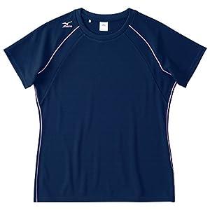 [ミズノ] トレーニングウェア 半袖Tシャツ ナビドライ 肩ロゴ 吸汗速乾 UPF15 日焼け防止 レディース 32MA5336 14 ネイビー L
