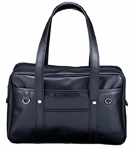 スクールバッグ 通学 スタンダード pu合成皮革 軽量 A4楽々サイズ 内部布張り ガールズ (黒)
