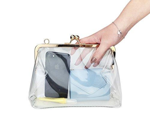 (ホクシス)Hoxis 透明 ビニール チェーン付き がま口バッグ 2way ショルダーバッグ クラッチバッグ 痛バッグ おしゃれ レディース パーディー (透明)