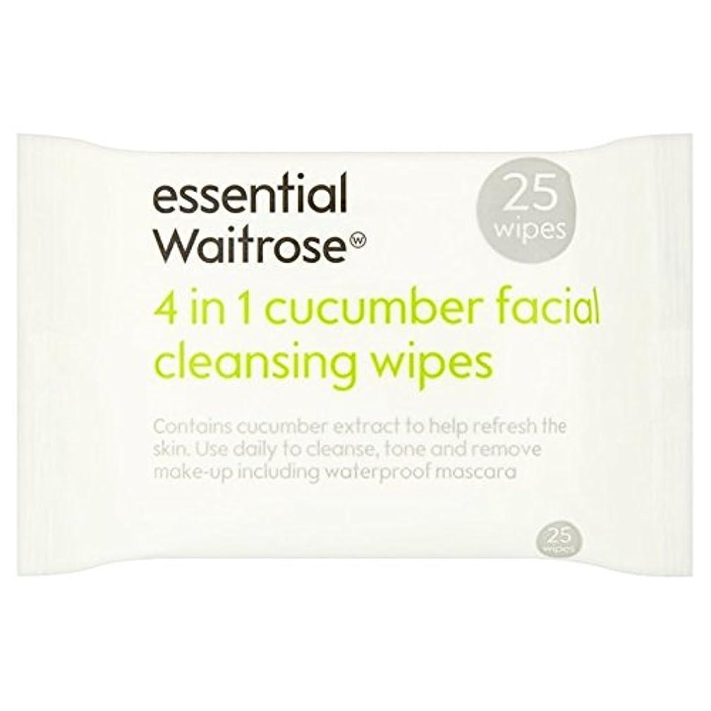 乏しい伝統的傷跡キュウリ顔のワイプパックあたり不可欠ウェイトローズ25 x2 - Cucumber Facial Wipes essential Waitrose 25 per pack (Pack of 2) [並行輸入品]