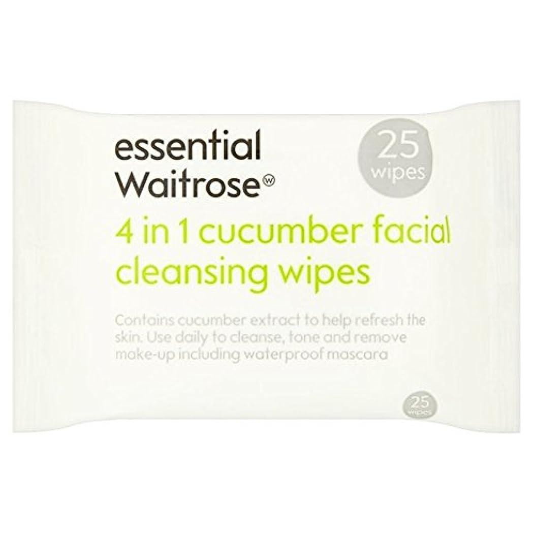 性格二度司書キュウリ顔のワイプパックあたり不可欠ウェイトローズ25 x4 - Cucumber Facial Wipes essential Waitrose 25 per pack (Pack of 4) [並行輸入品]