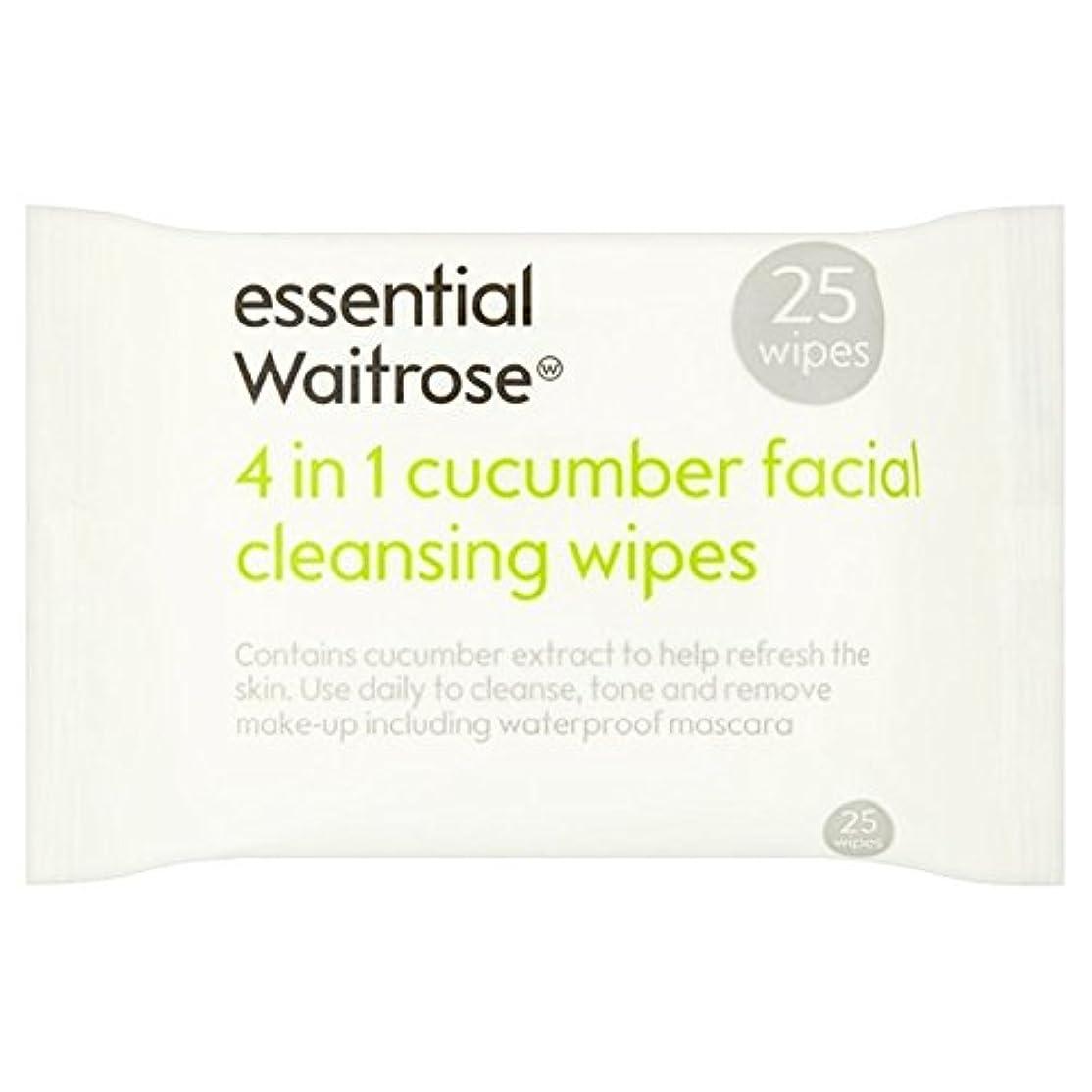 歪める出演者音楽家キュウリ顔のワイプパックあたり不可欠ウェイトローズ25 x2 - Cucumber Facial Wipes essential Waitrose 25 per pack (Pack of 2) [並行輸入品]