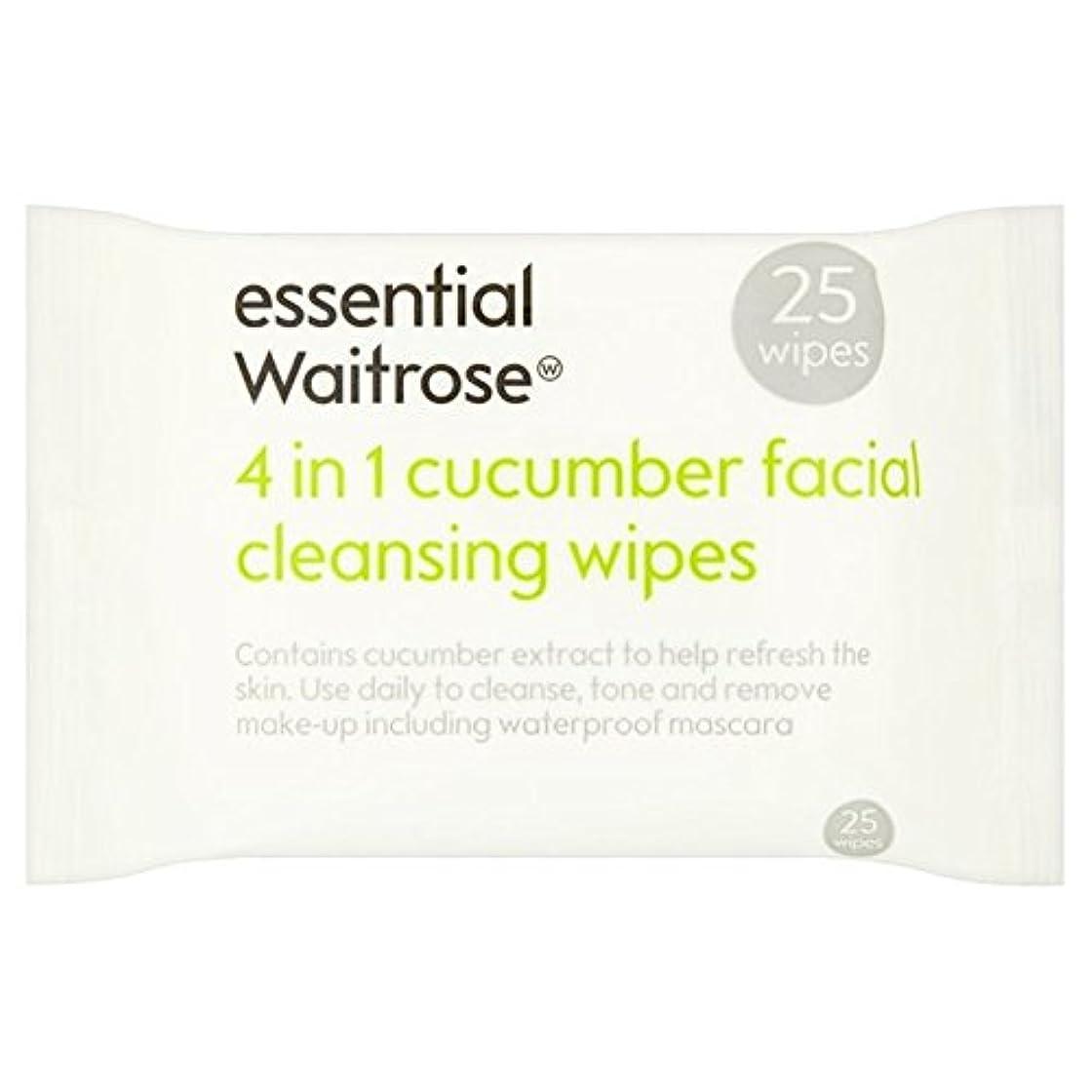 討論招待オーバードローキュウリ顔のワイプパックあたり不可欠ウェイトローズ25 x2 - Cucumber Facial Wipes essential Waitrose 25 per pack (Pack of 2) [並行輸入品]