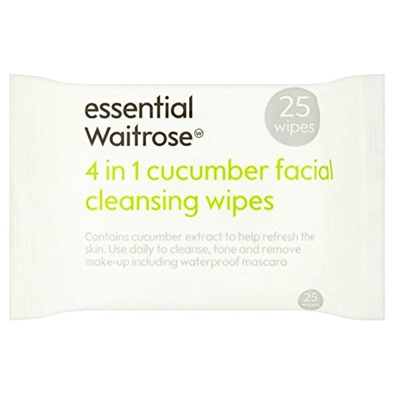 小道具あたりどうやってキュウリ顔のワイプパックあたり不可欠ウェイトローズ25 x4 - Cucumber Facial Wipes essential Waitrose 25 per pack (Pack of 4) [並行輸入品]