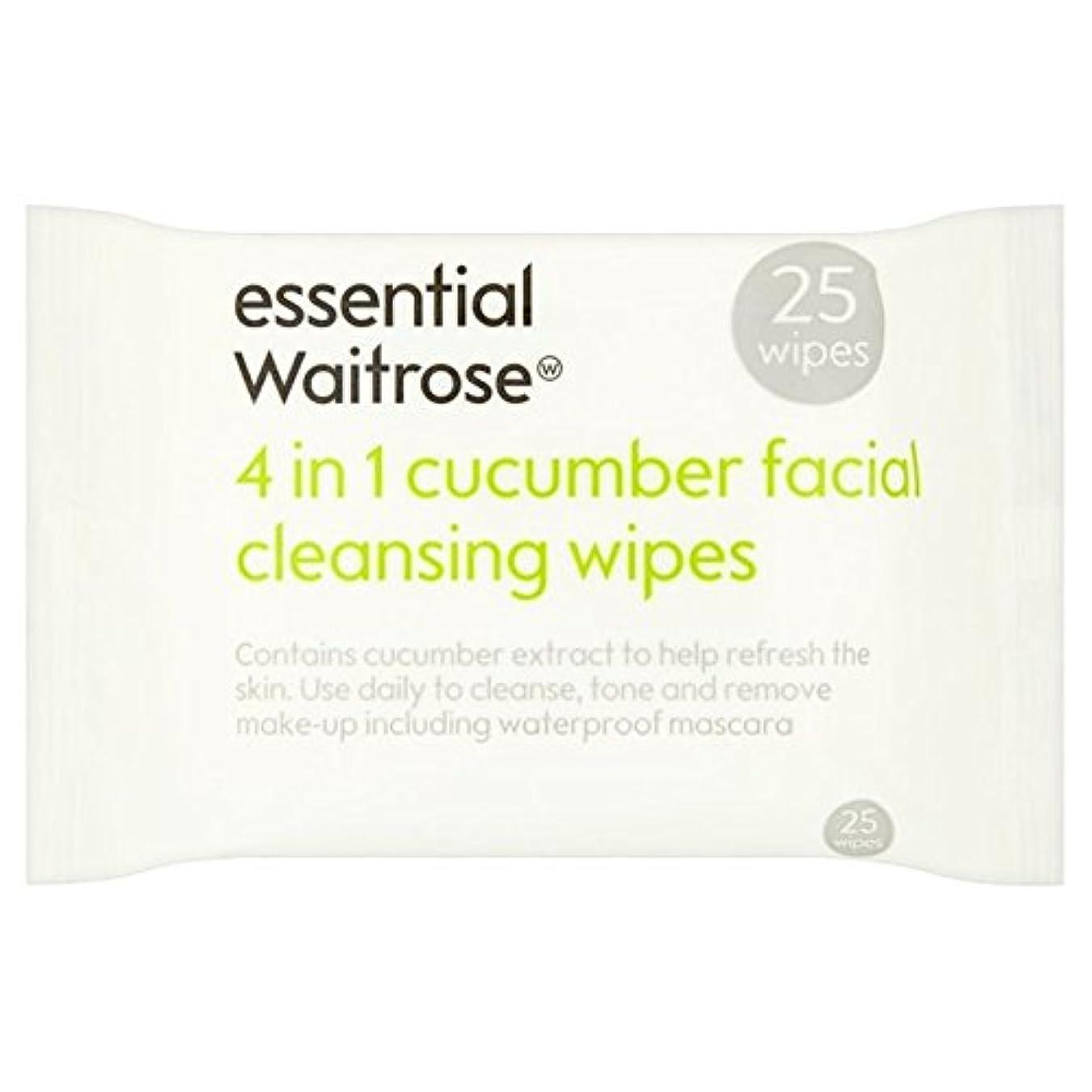 キュウリ顔のワイプパックあたり不可欠ウェイトローズ25 x4 - Cucumber Facial Wipes essential Waitrose 25 per pack (Pack of 4) [並行輸入品]