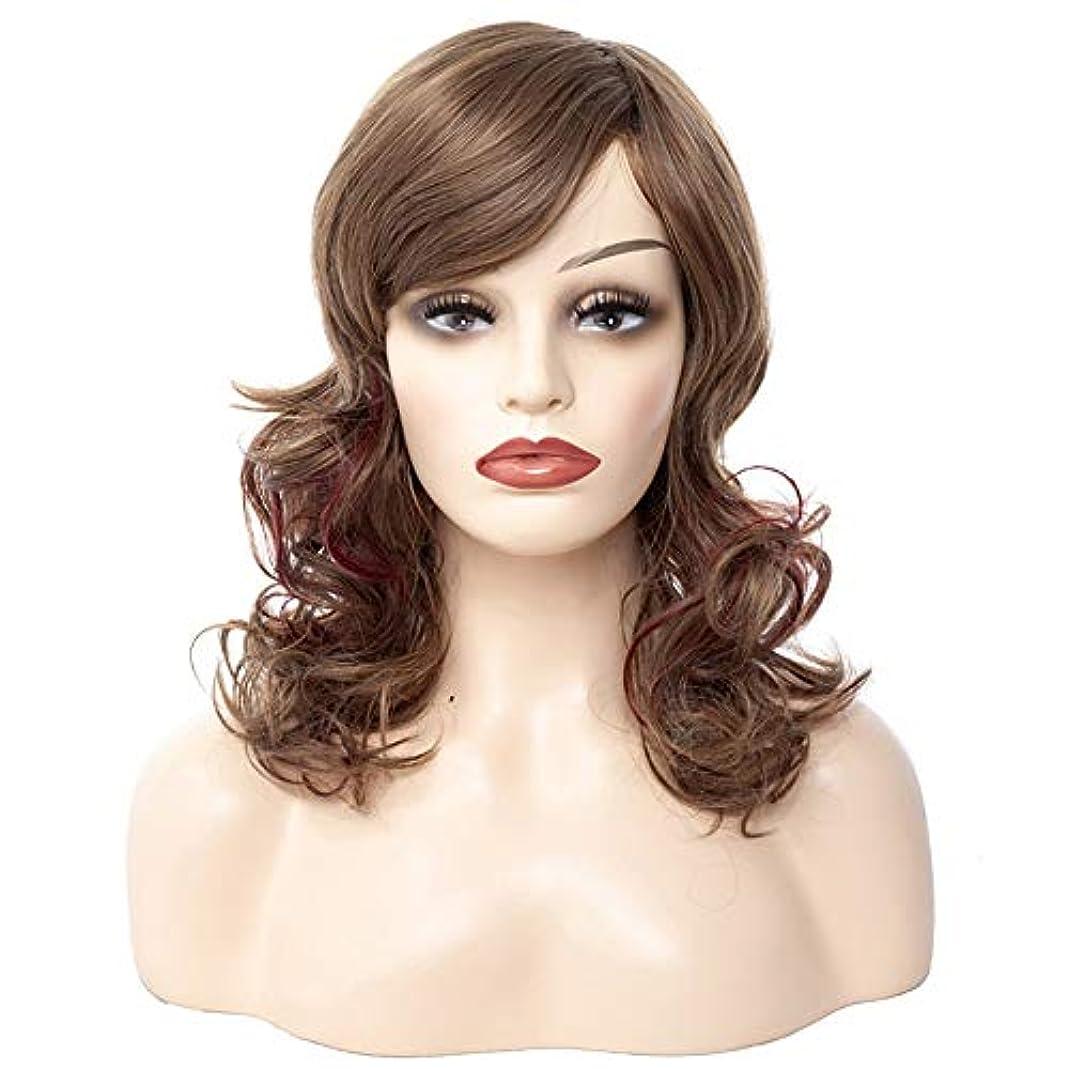 抵抗する貪欲クラッシュWASAIO スタイルの交換ふわふわかつらのための女性の茶色の短い巻き毛中部天然アクセサリー (色 : ブラウン)