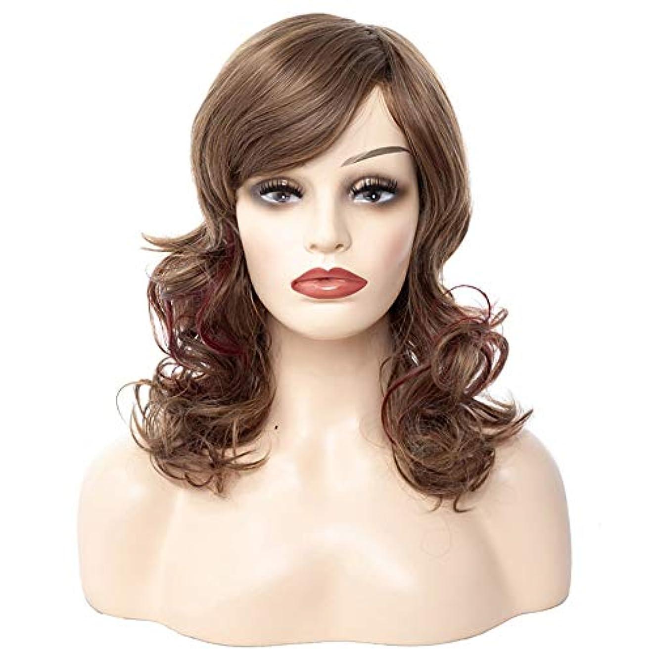 和解する王朝シュートWASAIO スタイルの交換ふわふわかつらのための女性の茶色の短い巻き毛中部天然アクセサリー (色 : ブラウン)