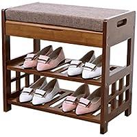 2層の靴のスツール竹のレトロストレージ防塵の廊下のスタンド靴ベンチシートクッション付き