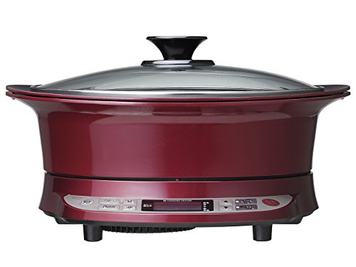 コイズミ IHクッキングヒーター(焼肉プレート+鍋付属) IHグリル鍋 レッド