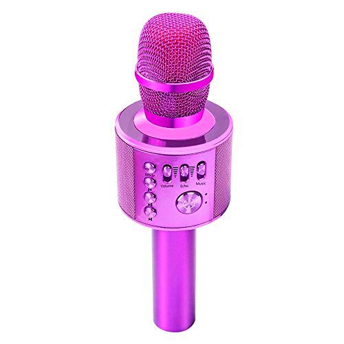 Verkstar Bluetooth カラオケマイク ポータブルスピーカー 高音質カラオケ機器 Bluetoothで簡単に接続 無線マイク 一人でカラオケ イヤフォンジャック付き Android/iPhoneに対応(パープル)