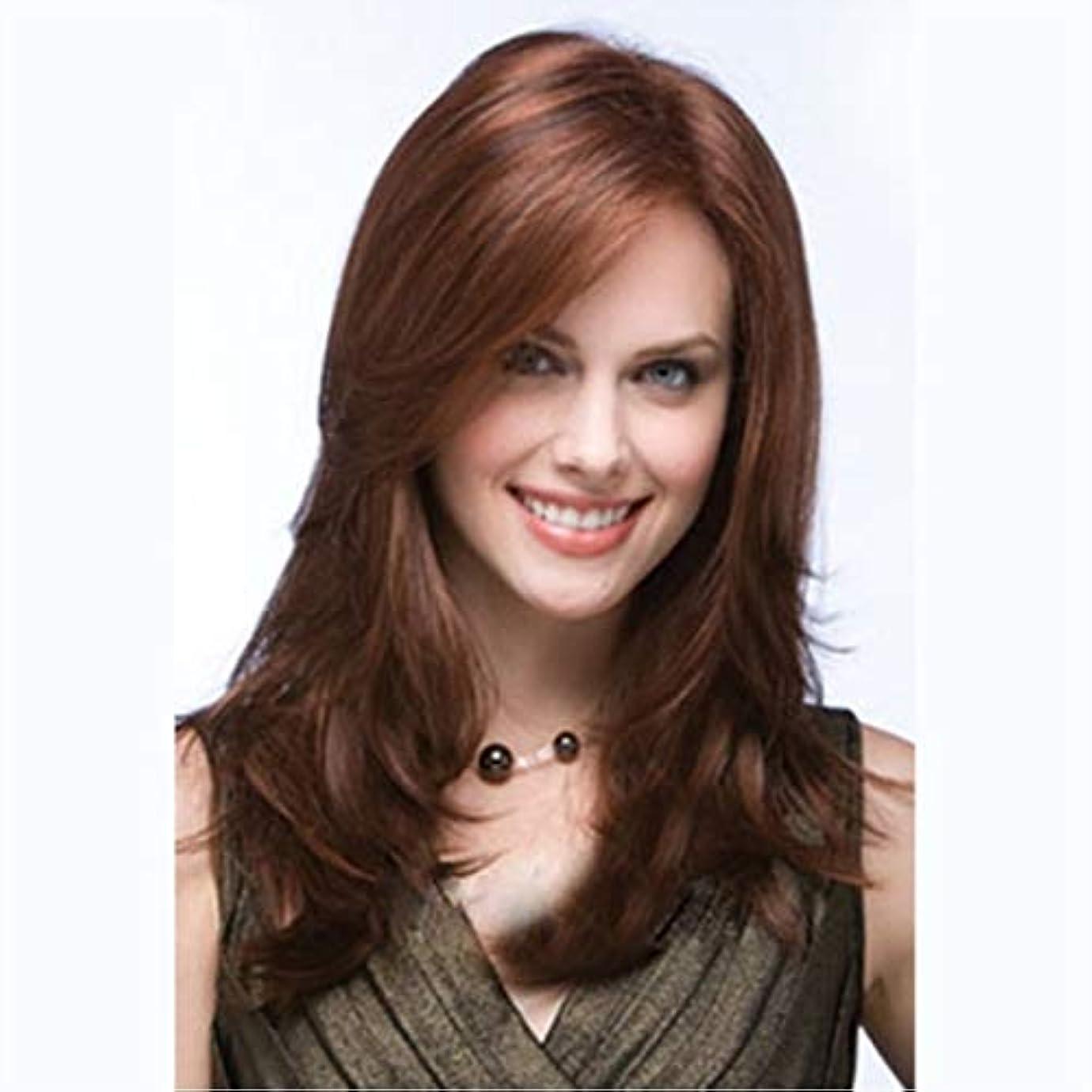 電報散髪ウサギKerwinner かつら斜め前髪ブラウンロングカーリーヘアーロングナチュラルウェーブミドルパート合成かつら用女性耐熱性