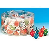 Wooden Coloured Dreidels Individually wrapped in Bulk Pack / 100 pieces