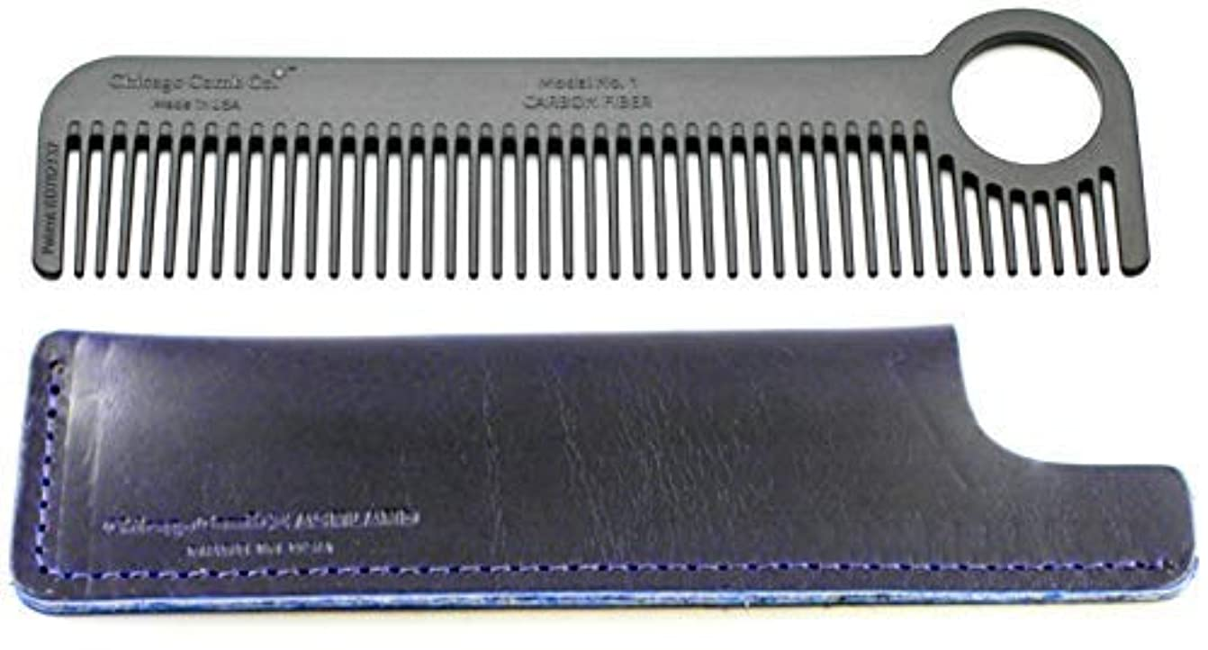 防衛既に形容詞Chicago Comb Model 1 Carbon Fiber Comb + Midnight Blue Horween leather sheath, Made in USA, ultimate pocket and...