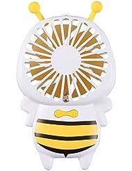 ファン小型の蜂のファン携帯用ハンドヘルド超薄型夜の光ファンミニusb小型ファン (Color : Yellow)