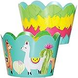 Fiesta パーティー用品 36枚のリバーシブルカップケーキラッパー | ラマピニャータ | リバーシブル | メキシカンパーティーデコレーション タコ 誕生日パーティー用品
