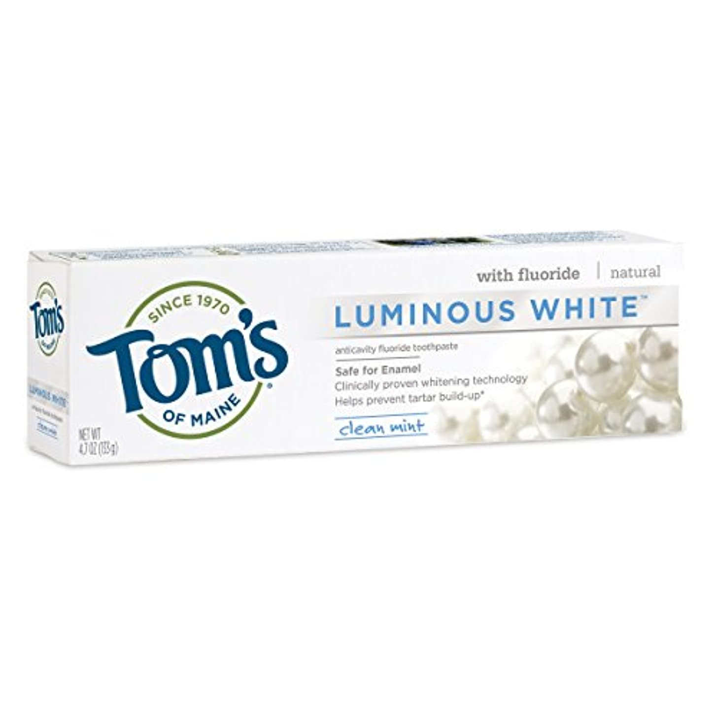 雇う翻訳者学部Tom's of Maine Luminous White Whitening Natural Toothpaste, Clean Mint, 4.7 Ounトムズルミナスホワイト