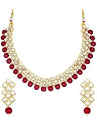 aheli Mothers Day Gifts Party Wear Kundan Choker Necklace and Earrings Jewelry Set Jewelry for Women Girls