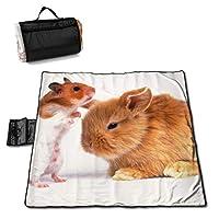 レジャーシート 厚手 ピクニックマット ウサギとハムスター キャンプマット 145*150cm 防水 防潮 断熱シートピクニックマット 花火大会/お花見/運動/遠足/室内用可能 ハンドバッグに簡単に折りたたむことができます