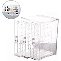 Acrylic Jewelry Storage Box OULII Earring Display Stand Organizer Holder with 3 Vertical Drawers Gift for Women