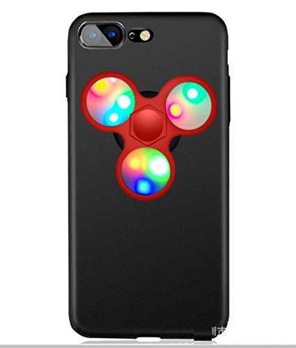 日本未発売 SPRING COME® [LEDハンドスピナー付きMATPCスマホンケース」LED 光る ピカピカ フォーカス玩具 iphone 5/SE /IPhone6s iPhone6 PLUS/ iphone7 7s 8 軽量 ウルトラ スリム 超薄型 プラスチック メッキ 360度保護 全面的保護機能  Hand Spinner Fidget Spinner ハード バック ケース アイホン5 アイホンSE / アイフォン6s / 6アイフォン6 / 6s / 7/ 8 プラス カバー スマホケース スマホカバー (アイホン7/8プラス, 黒x赤) [並行輸入品]