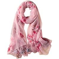GERINLY Sweet Silk Feel Scarf Floral Butterfly Print Large Beach Wrap