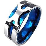 KONOV ジュエリー ファッション アクセサリー メンズ リング 指輪, クラシック, ステンレス, カラー:青; シルバー(銀);[ギフトバッグを提供]