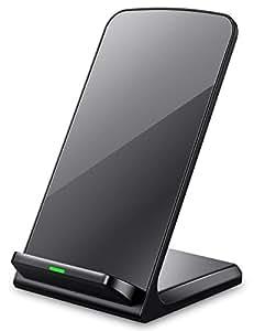 3つのコイル ワイヤレス充電器 Seneo Qi ワイヤレスチャージャー iPhone8 , iPhone 8 Plus , iPhone X /Samsung Galaxy Note 8, S8, S8 Plus, S7, S7 Edge, Note 5, S6 Edge Plus/Nexus/Kyocera/他Qi対応機種 スタンド型(ブラック)