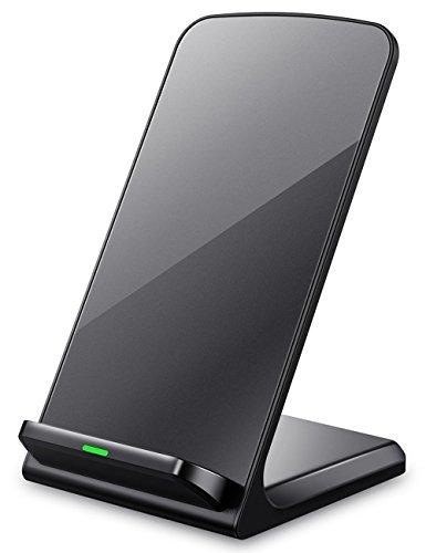 3つのコイル ワイヤレス充電器 Seneo Qi ワイヤレスチャージャー iPhone8 , iPhone 8 Plus , iPhone X /Samsung Galaxy S9 ,S9 Plus,Note 8, S8, S8 Plus, S7, S7 Edge, Note 5, S6 Edge Plus/Nexus/Kyocera/他Qi対応機種 スタンド型(ブラック)