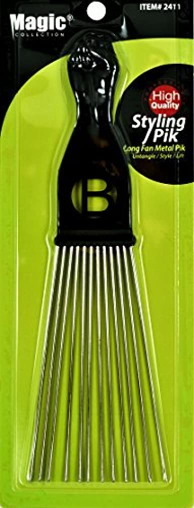 プリーツ未使用いとこAfro Hair Pick Extra Large Long Black Fist Long Fan Metal Pik (B-2411) [並行輸入品]