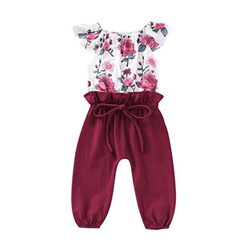 私たちのもの容赦ないこんにちは子供の赤ちゃん女の子オフショルダー半袖フラワープリントシャツステッチソリッドカラーの蝶結びのズボンジャンプスーツファッションエレガントなロンパース