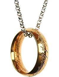 「silverKYASYA」18kgp ゴールド リングネックレス 50cm 金 ペンダント プレゼント 人気 ホビット The One Ring