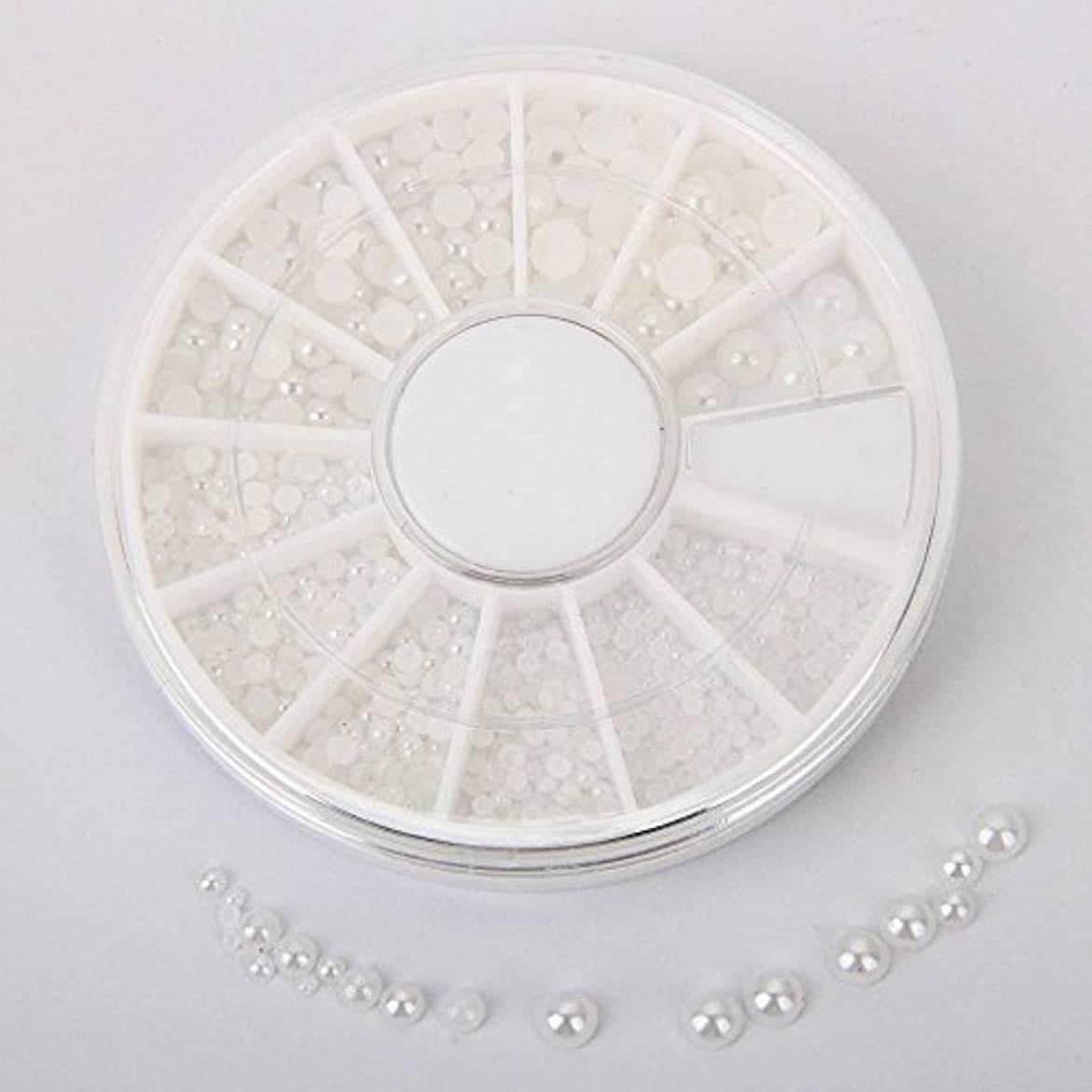 シンディー ネイルアートパーツ 半円パール(ホワイト) マニキュアデコ用パール 1.5mm,2mm,3mm,4mm ラウンドケース入 3Dデコレーション(01)
