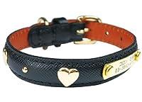 名前と電話番号が刻印可能 IDゴールドハートカラー 28 ブラック 犬 猫の首輪 BIRDIE バーディ