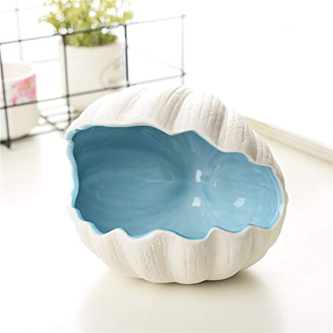 メロディアス余暇育成タバコ、ギフトおよびホームオフィスの装飾のための灰皿セラミックシェル灰皿 (色 : 青)