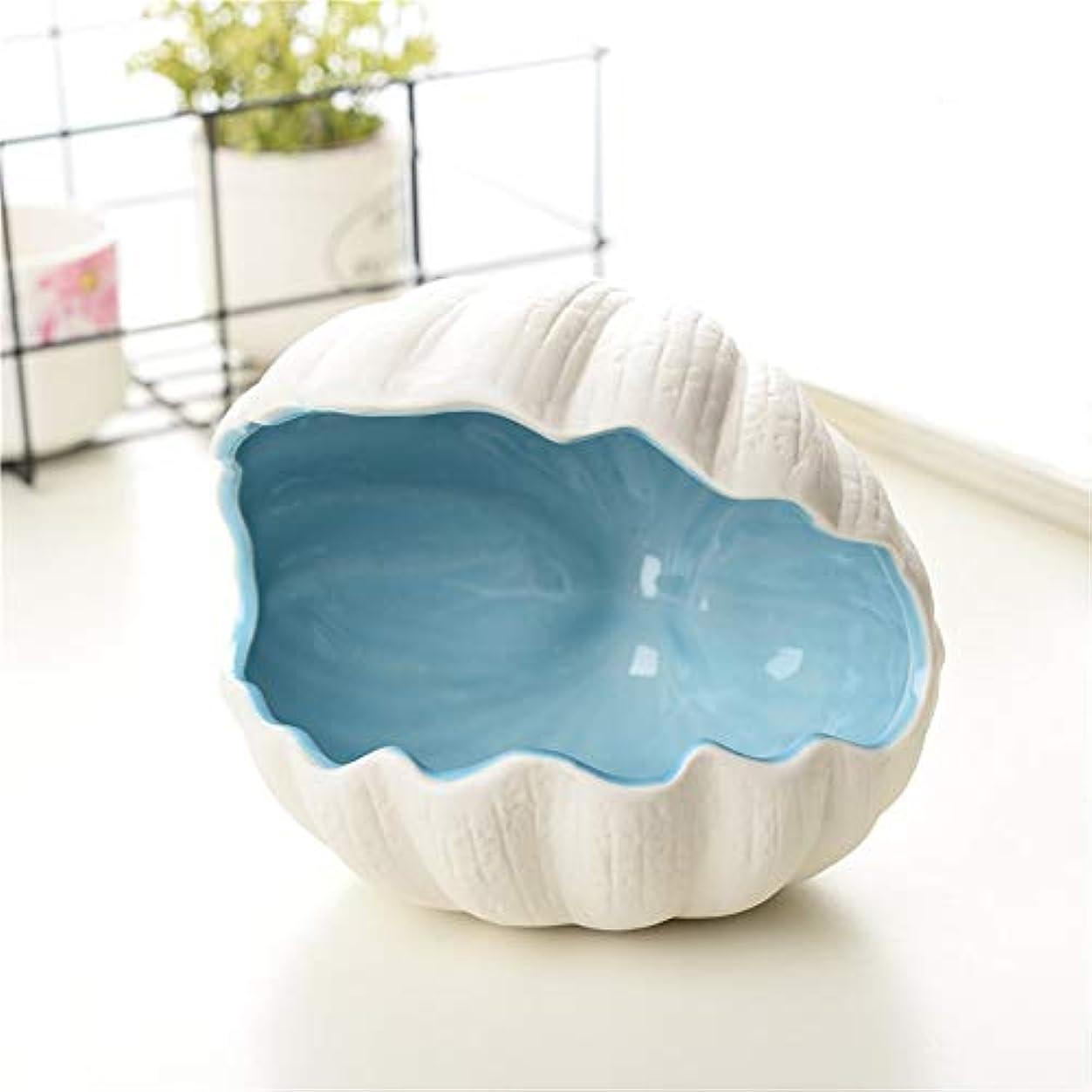 目を覚ます盲目すきタバコ、ギフトおよびホームオフィスの装飾のための灰皿セラミックシェル灰皿 (色 : 青)